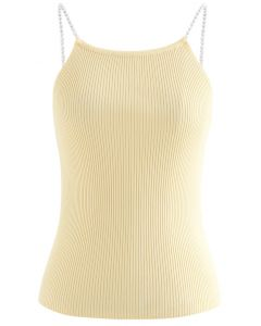 Pearl Straps Knit Cami Tank Top in Yellow