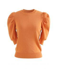 Bubble Short-Sleeve Knit Top in Orange