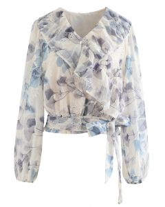 Flower Print Tie Waist Ruffle Semi-Sheer Top