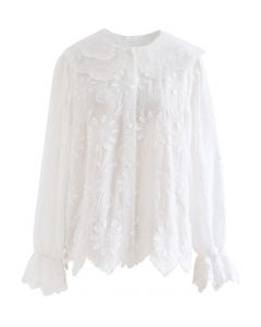 Organza Neck Delicate Embroidered Shirt in White