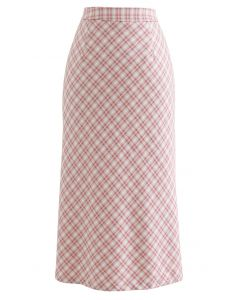 Gingham Slit Hem Pencil Skirt in Pink