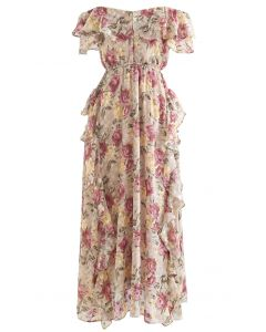Floral Asymmetric Ruffle Off-Shoulder Maxi Dress