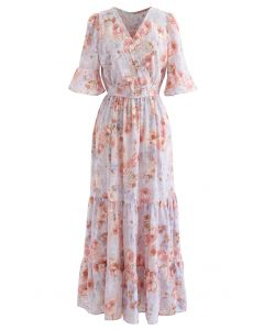 Retro Rose Wrapped Ruffle Maxi Dress in Lilac