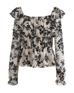 Leaves Printed Jacquard Ruffle Chiffon Top in Sand