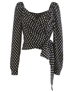 Spotted Tie Waist Wrap Crop Top in Black