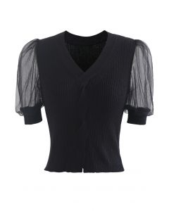 Meshed Short Sleeves Cropped Knit Top in Black