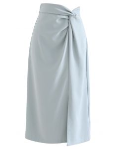 Knot Waist Slit Hem Pencil Skirt in Dusty Blue