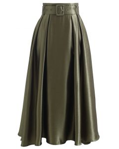 Belted Texture Flare Maxi Skirt in Moss Green