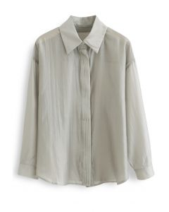Pintuck Decorated Loose Shirt in Sage