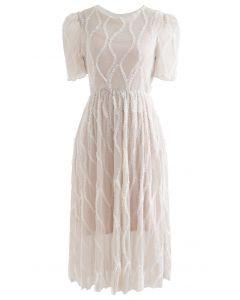 Winding Ruffle Glitter Mesh Dress