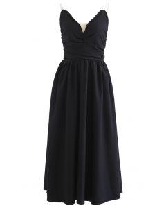 V-Neck Open Back Crystal Cami Dress in Black