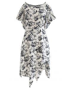 Sketch Floral Print Cold-Shoulder Asymmetric Dress
