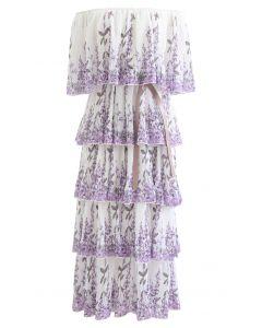 薰衣草印花分層褶皺露肩長裙--白色