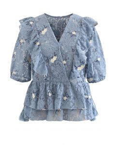 Side String Floral Ruffle Lace Top in Dusty Blue