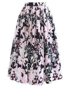 Summer Floral Print Pleated Midi Skirt in Black