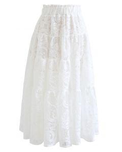 White Floral Crochet Mesh Frilling Skirt