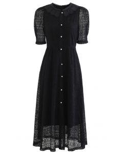 Doll Collar Full Lace Midi Dress in Black