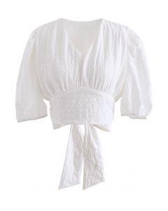 V-領後背綁帶提花短款上衣--白色