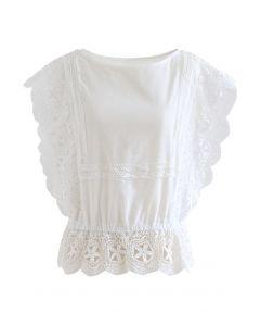 Scalloped Crochet Trim Sleeveless Peplum Top in White