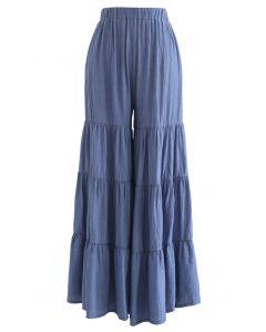 寬鬆闊腿褲--靛藍色