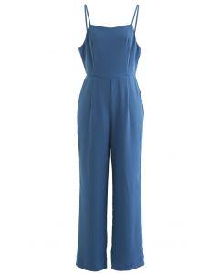 Open Back Straight Leg Cami Jumpsuit in Indigo