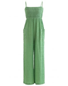 Solid Green Shirred Cami Jumpsuit