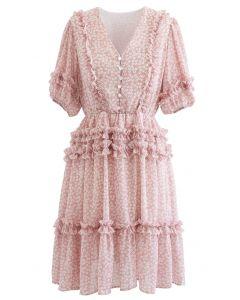 Daisy Print Ruffle Detail Chiffon Dress in Pink