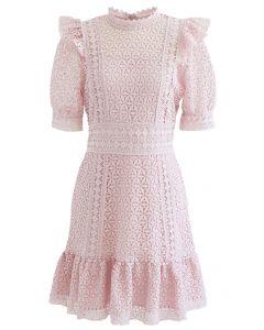 High Neck Full Crochet Mini Dress in Pink