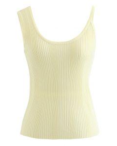 Asymmetric Straps Rib Knit Tank Top in Yellow
