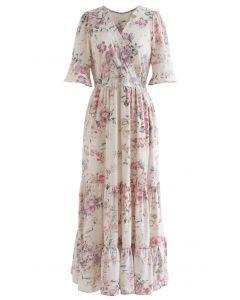 Luxuriant Flower Frilling Wrap Dress in Ivory