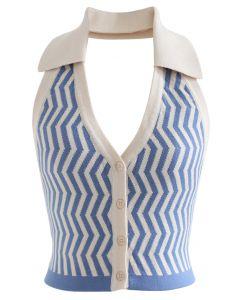 Z字形紐扣前飾短款針織露背上衣
