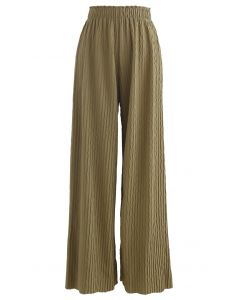 Z字形浮雕闊腿褲--苔蘚綠