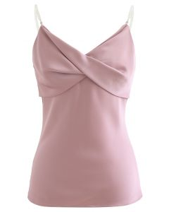 Crystal Straps Twist Bust Cami Tank Top in Pink