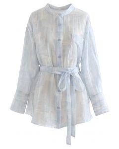 Button Down Semi-Sheer Belted Shirt