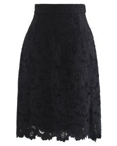 Blooming Peony Full Crochet Pencil Skirt in Black