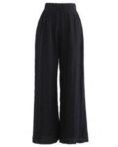 Ripple Pleated Wide Leg Pants in Black