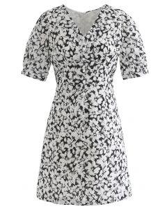 Gentle Blossom V-Neck Buttoned Mini Dress in Black