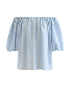 Pastel Color Bubble Sleeves Off-Shoulder Top in Blue