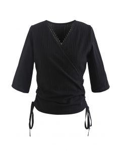 Side Drawstring Wrap Ribbed Top in Black