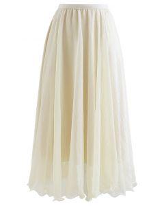Subtle Shimmer Semi-Sheer Pleated Midi Skirt in Yellow