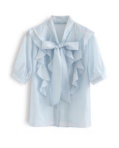 Flowy Ruffle Bow Neck Mid Sleeve Shirt in Blue