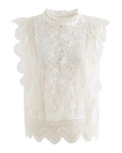 Wavy Edge Flower Lace Sleeveless Top in Ivory