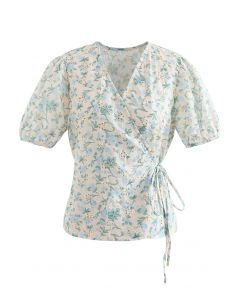 Self-Tie Blue Floral Broderie Anglaise Wrap Top