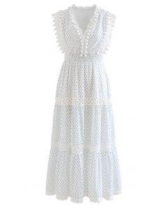 Blue Rose Bud Printed Pom-Pom Sleeveless Maxi Dress