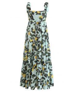 黃檸檬綠葉圖案綁肩長裙