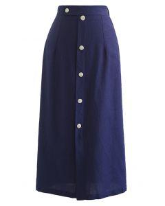 Button Embellished Slit Front Midi Skirt in Navy