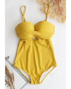 Cross Front Cami Swimsuit in Mustard