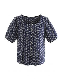 Button Down Embroidered Floral Cotton Top in Navy
