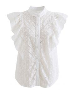 Dots Embroidered Flutter-Sleeve Buttoned Top in White