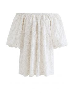 Embossed Floral Puff Sleeve Dolly Top in Ivory